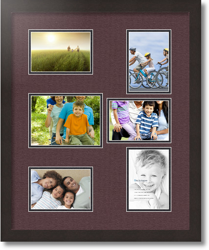 18x22 Coffee Collage Picture Frame 6 Opening Mahogany And