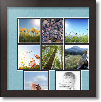 14x14 coffee collage picture frame 8 opening french blue and black mat. Black Bedroom Furniture Sets. Home Design Ideas