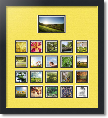 18x20 Satin Black Collage Picture Frame 21 Opening Canary