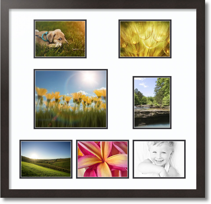 27x26 Coffee collage picture frame 7 opening Super White and Black mat