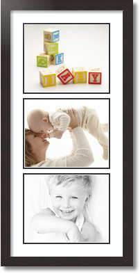 (3) 10x8 Espresso Super White Collage Picture frame